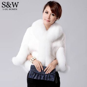 Winter Women's Fur Poncho Rabbit Fur Coat Fur Vest Fox Fur Collar Fur Cloak Jacket Bridal Wedding Dress Shawl Cape Bolero