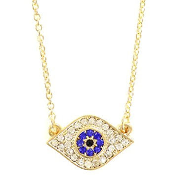 Evil Eye Necklace Crystal Amulet Gold Tone Eyeball Statement Pendant NQ02 Fashion Jewelry