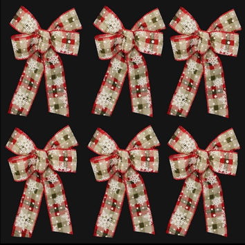 Plaid Burlap Snowflake Christmas Bows (set of 6)