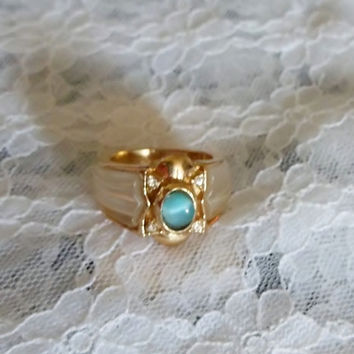 Espo Signed Ring, 14k GE, Cat's Eye Blue Center Stone, Frosted Lucite, size 6, Vintage, Estate Jewelry Ring, Hallmarks, Item # 107