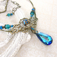 Victorian Peacock Necklace - Blue Antique Brass Filigree Necklace Swarovski Crystal Teardrop Peacock Wedding - Bermuda Blue Wedding Necklace