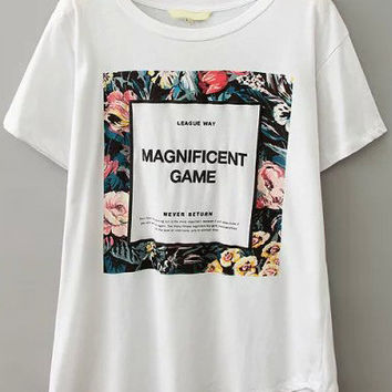 White Short Sleeve Floral Monogram Print Graphic T-Shirt