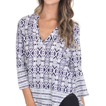 Print V-Neck Blouse Ink
