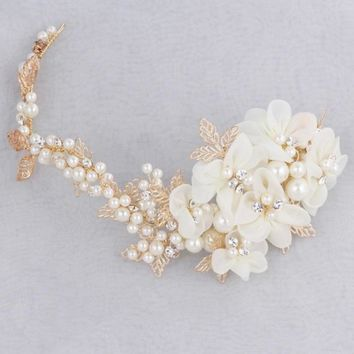 Ivory Floral Gold Leaf Crown Wedding Headband Bridal Hair Vine