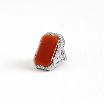 Vintage Art Deco Sterling Silver Simulated Carnelian Ring - Size 5 Antique 1920s Filigree Dark Red Brown Statement Flapper Ring Jewelry