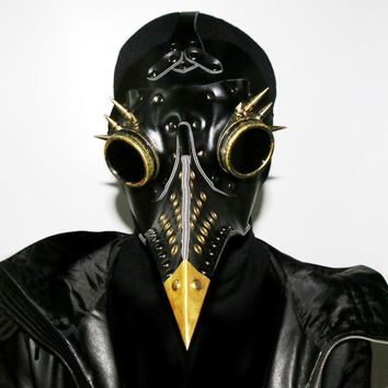 Black Leather Plague Bird Mask Doctor Mask Nose Re