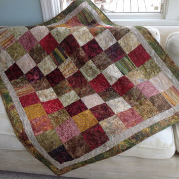 Fall quilt earth tone throw blanket lap quilt leaf red tan gold green autumn fall colors pantone marsala