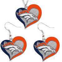 Denver Broncos Women's Swirl Heart Necklace & Earrings Set