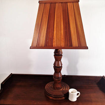 Hand crafted Vintage Table lamp Rustic home decor All natural wood turned wood base, wood slat lamp shade. Rustic. Western or Woodland Decor