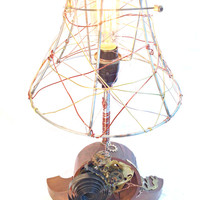 Steampunk Mantle Clock Lamp