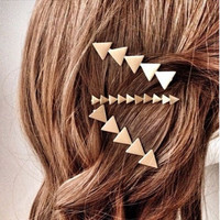 H124 Simple Fashion Women Hair Accessories Jewelry Geometrical Element Triangle Clip Hair Accessories