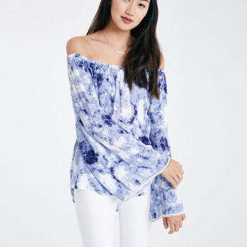 Tie Dye Off-The-Shoulder Top With Bell Sleeves | Wet Seal