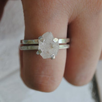 Herkimer Diamond Prong Set 2 MM 14k Gold Matching Engagement And Wedding Rings