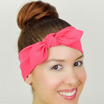 Turban Bow Head Wrap Bow Deep Pink Yoga Headband Fitness Headband Pink Knit Turban Workout Headband Running Headband Cheerleader Headband