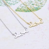LOVE lettering necklace in  silver or gold tone