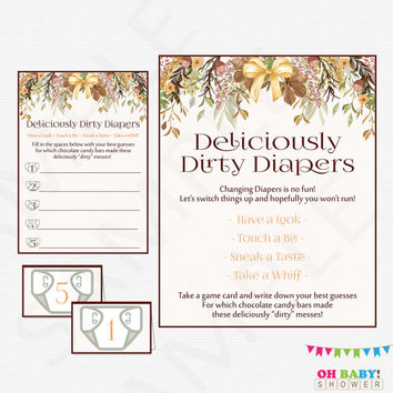 Fall Baby Shower Game - Guess the Mess - Deliciously Dirty Diapers Game, Chocolate Candy Bar Mess Diaper Game Girl Boy Autumn Printable FF01