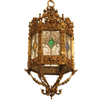 English Brass And Stained Glass Lantern