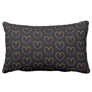 Cute Glitter Sparkles Hearts Pattern Rainbow Lumbar Pillow