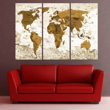 travel Push pin world map wall art canvas, push pin world map with details, travel map canvas, world map with countries, fine art No:8S58