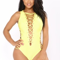 Berdina Bandage Swimsuit - Yellow