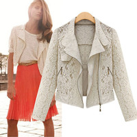 Summer Women's Fashion Lace Hollow Out Scarf Slim Long Sleeve Jacket [9405061956]