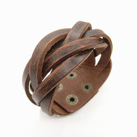 Fashion Punk  Rivets Adjustable Leather Wristband Cuff Bracelet - Great for Men, Women, Teens, Boys, Girls 2722s
