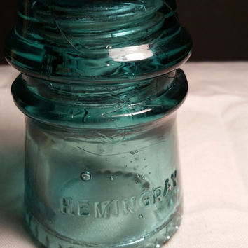 Hemingray 16 Glass Electrical Insulator, Aqua Green Glass, Paperweight, Vintage Decor