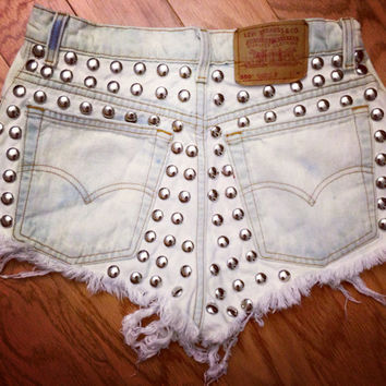 The Metal Shorts studded highwaisted distressed by Shopwunderlust