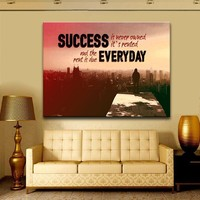Success Is Never Owned It's Rented Canvas Wall Art Motivational Art