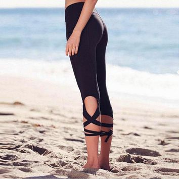 2017 New Winding String Fitness Yuga Dance Ballet Straps Capris Bandage Fashion Leggings Cropped Pants Hot Sale