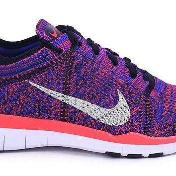 Nike Women's Free TR Flyknit Black/Blue Trainer Sneakers 718785 002