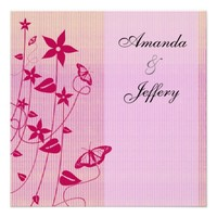 Wedding Invitation | Pink & Red Flower Butterfly