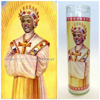 "Miley Cyrus Prayer Candle. (Type B) Saint Cyrus! Great Gift! Premium Handmade 9"" Soy Candle!"