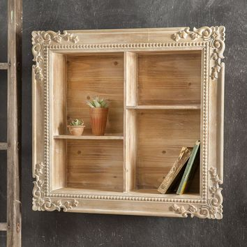 Vintage Country Style Carved Wood Shadow Box Display Wall Shelves Accent Decor