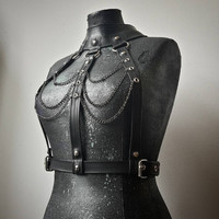 Rubber Post Apocalyptic Amazona Fetish Warrior Top with Silver Metal Details