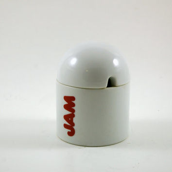 Mod Typography Jam Jar in White