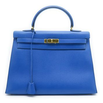 Hermes Couchevel Leather Kelly 35 Gold Metal Satchel Bag Electric Blue