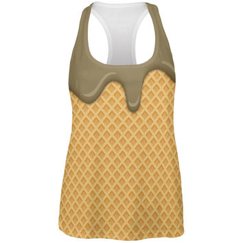 Melting Chocolate Ice Cream Cone All Over Womens Work Out Tank Top