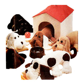1980s STUFFED Puppy DOG DOLLS & Dog House Pattern Large Puppy Pal and Carrier Dog House McCalls 2504 UNCuT Vintage Craft Sewing Patterns