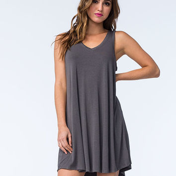Others Follow Breezzy Dress Charcoal  In Sizes