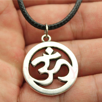WYSIWYG fashion 3 colors antique gold antique bronze antique silver tone OM pendant leather chain necklace