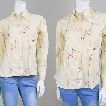 Vintage 70s Shirt Womens Blouse Off White Floral Shirt Western Shirt Round Collar Boho Shirt Spoon Collar Disco Shirt 1970s Shirt Cream