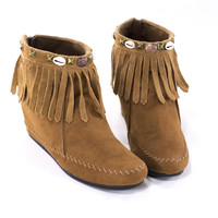 Moccasin Boots Brown Leather Ankle Boots Fringe Wedge Booties Size 10