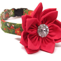 Dog Collar and Flower - MADE TO ORDER Christmas Poinsettia Collar and Red Poinsetta Flower