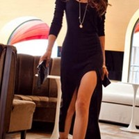 Black Round Neck 3/4 Sleeve Slit Hem Bodycon Fitted Knit Midi Dress