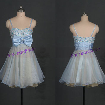 Short blue and gold tulle homecoming dress with bow,cute women gowns for cocktail party,chic cheap prom dresses under 100.
