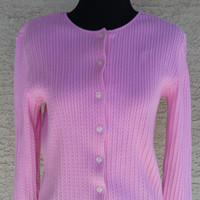 Ralph Lauren Pink women's cardigan sweater - size large. Cotton. Button up Ralph Lauren sweater cardigan in pink. Large,.