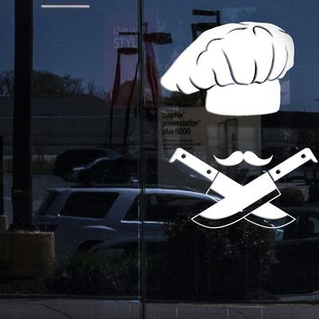 Window Sign for Business Vinyl Wall Decal Chef Hat Kitchen Decor Mustache Knives Stickers (2176igw)