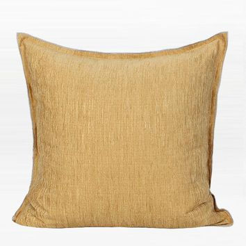 "Yellow Solid Color Chenille Pillow 20""X20"""