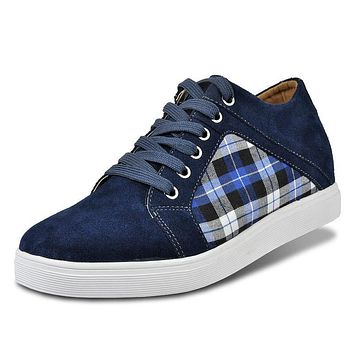 X5567-1 Quality Suede Lattice Shoes for Men Walk Taller 6CM,Casual Height Increase Elevation Shoes Match Jeans Brow/Gray/Blue